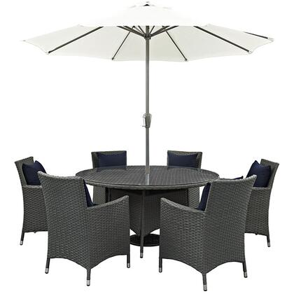 Sojourn Collection EEI-2270-CHC-NAV-SET 8-Piece Outdoor Patio Sunbrella Dining Set with 59