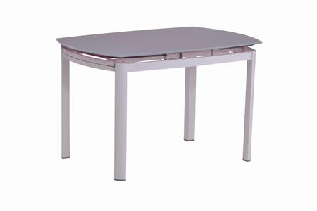 AMELIA-DT AMELIA DINING Painted White Extension Dining Table Glass Top with Powder Coating White Metal