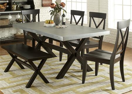 Keaton II Collection 219-CD-6TRS 6-Piece Dining Room Set with Dining Table  Bench and 4 Side Chairs in Charcoal
