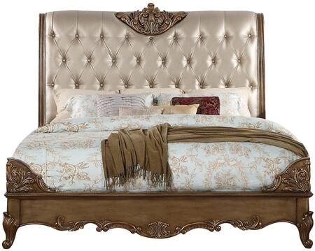 Orianne Collection 23784CK California King Size Bed with PU Leather Button Tutfed Headboard  Low Profile Footboard  Raised Scrolled Floral Corners  Queen Anne