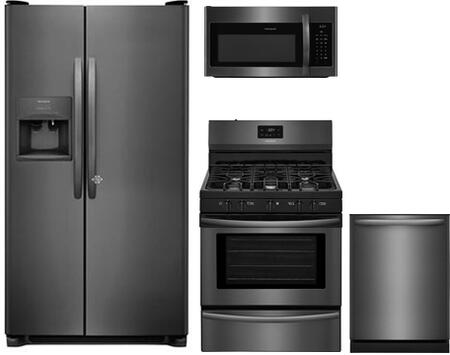 4-Piece Kitchen Package with FFSS2615TD 36 inch  Side by Side Refrigerator  FFGF3054TD 30 inch  Gas Range  FFMV1645TD 30 inch  Over the Range Microwave Oven and FFID2426TD