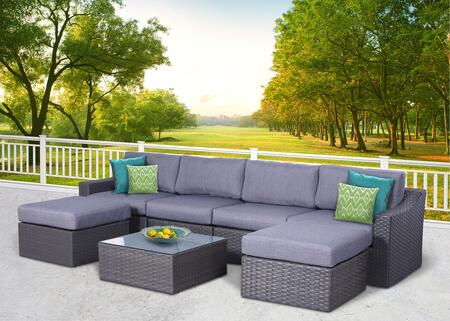 Maya Collection MAYA-1001G 7 Piece Olefin Conversation Set with Left Arm Sofa  Right Arm Sofa  2x Armless Middle Sofas  2x Ottomans and Coffee Table in