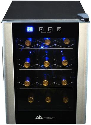 AB-WINE12S 14 inch  Single Zone Wine Cooler with 12 Bottle Capacity  LED Lighting  Digital Temperature Display  Digital Temperature Display  in