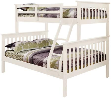 122-3W Mission Style Bunk Bed Twin Over Full with Built in Ladder  Slat Headboard and Footboard in