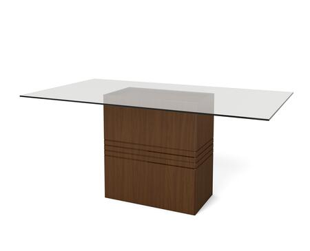 "Perry 1.6 Collection 105351 71"" Rectangular Table with Sleek Tempered Glass Table Top and Carved Design Base in Nut"