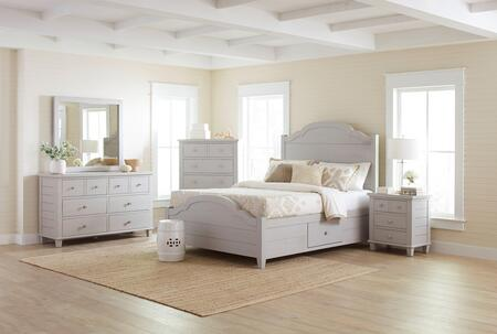 Chesapeake Collection 177396979899KTSET 5 PC Bedroom Set with King Size Storage Bed + Dresser + Mirror + Chest + Nightstand in Dove