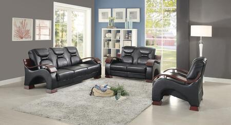 G483SET 3 PC Living Room Set with Sofa + Loveseat + Armchair in Black