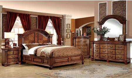 Bellagrand Collection CM7738QBDMCN 5-Piece Bedroom Set with Queen Bed  Dresser  Mirror  Chest  and Nightstand in Antique Tobacco Oak