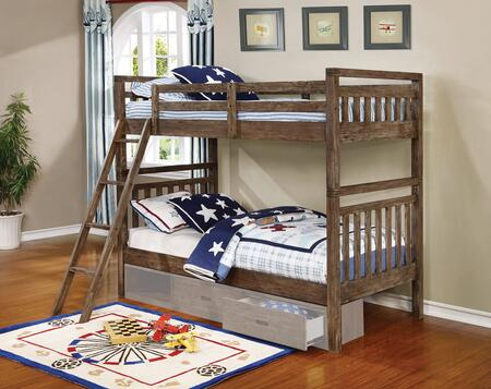 Malcolm Collection 460371 Twin Size Bunk Bed with Slatted Headboards and Footboards  Separable Bed Design  Slat Kits Included in Wire Brushed