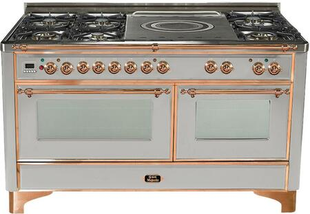 "UM-150-SDMP-I-C 60"""" Dual Fuel Range with Copper Trim  French Top  6 Semi-Sealed Burners  Multi-Function European Convection Oven  Electric Oven  Rotisserie"" 811974"