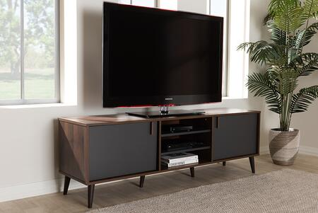 Baxton SE TV9012WI-CLB/DG TV Stand in Brown and Dark Gray