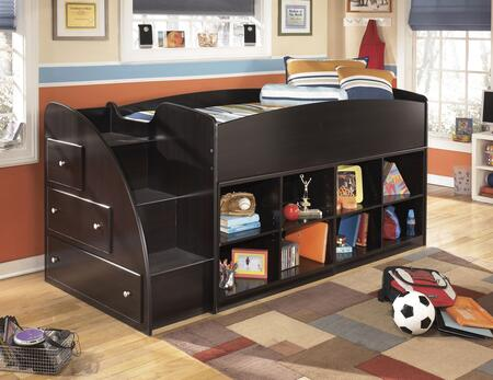 Embrace B239-68T-17-13L Twin Loft Bed with Loft Bed Top  Left Storage with Steps and Two Loft Bookcases in