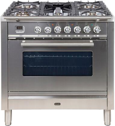 Ilve UPW90FDMPI Pro Series 36 inch. Dual Fuel Range Oven Griddle, Convection Storage Drawer Stainless Steel