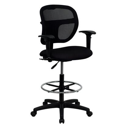 WL-A7671SYG-BK-AD-GG Mid-Back Mesh Drafting Stool with Black Fabric Seat and