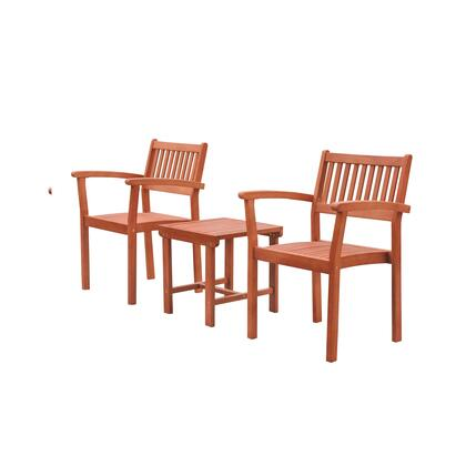 Malibu Collection V1802SET5 3-Piece Outdoor Patio Set with Two Stacking Chairs and Side Table in Natural Wood