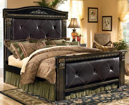 B17556586299 Coal Creek Collection King Size Upholstered Mansion Bed with Largely Scaled Detailed Swinging Bails and Faux Leather Panels in Dark