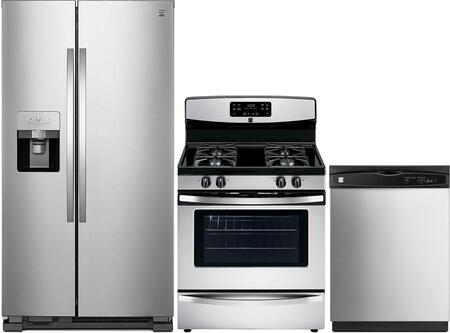 4-Piece Stainless Steel Kitchen Package with 51113 Side-by-Side Refrigerator  74033 Freestanding Gas Range  80323 Over-the-Range Microwave and 17383