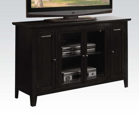 Vida 91010 52 inch  TV Stand with 4 Doors  Adjustable Shelves  Tapered Legs and Metal Hardware in Black
