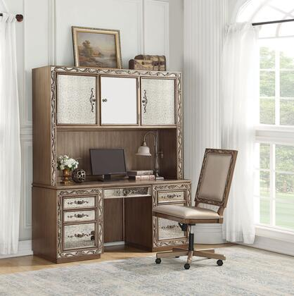 Orianne Collection 93790DC 2 PC Office Furniture with Executive Office Chair Computer Desk and Hutch in Antique Gold