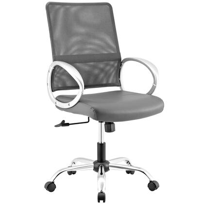 Command Collection EEI-2861-GRY Office Chair with Adjustable Height  Swivel Seat  Tension Control Knob  Five Dual Wheel Casters  Chrome-Plated Steel Base  Mesh