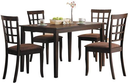 Cardiff Collection 06850CH 5 PC Dining Room Set with Rectangular Shaped Dining Table and 4 Dark brown Microfiber Upholstered Side Chairs in Espresso