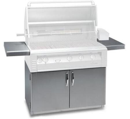 AL-42C 42 Freestanding Grill Cart with 2 Access Doors  2 Side Shelves  and Caster Wheels in Stainless