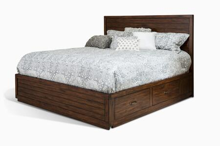 2318VM-SQ Queen Size Storage Bed with Built-In Drawers  Clean Line Design  Planked Detailing and Mahogany Wood Construction in Vintage