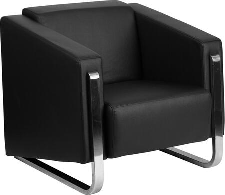 ZB-8803-1-CHAIR-BK-GG Hercules Gallant Series Contemporary Black Leather Chair with Stainless Steel