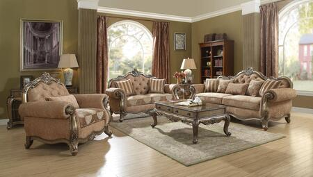 Ragenardus Collection 560306SET 6 PC Living Room Set with Sofa + Loveseat + Chair + Coffee Table + End Table + Sofa Table in Fabric and Vintage Oak
