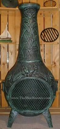 ALCH012AGGKLP Gas Powered Rose Chiminea Outdoor Fireplace in Antique Green - Liquid