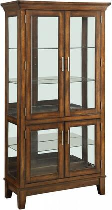 Jaxon Collection 90172 36 inch  Curio Cabinet with 4 5mm Clear Tempered Glass Shelves  3mm Back Mirror  4 Glass Doors  Touch Light and Tapered Legs in Cherry