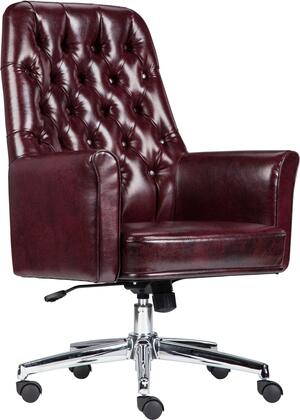 BT-444-MID-BY-GG Mid-Back Traditional Tufted Burgundy Leather Executive Swivel Chair with