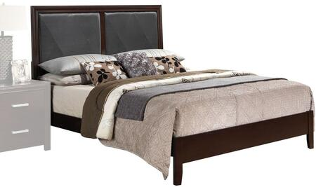 Ajay Collection 21420Q Queen Size Bed with Black Faux Leather Insert  Low Profile Footboard  Solid Wood Slats  Rubberwood and Chipboard Materials in Espresso
