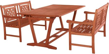 Malibu Collection V232SET47 3 PC Outdoor Patio Dining Set with 2 Benches  Rectangular Shaped Table  Umbrella Hole  Rustic Style and Eucalyptus Solid Wood