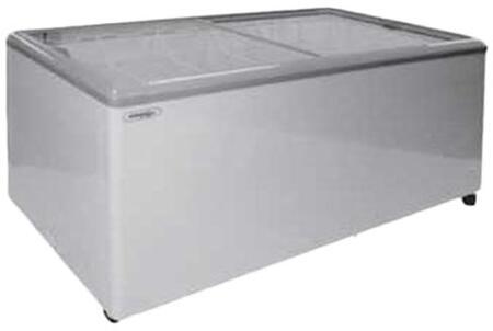 MXF71F Freezer with 20 cu. ft.  Recessed Sliding Door Handle  Aluminum Interior  White Exterior   Light  Temperature Display  Front Facing Drainage  Front