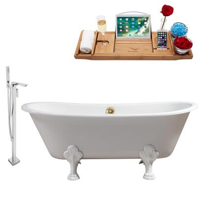 """RH5061WH-GLD-140 67"""""""" Oval Shaped Soaking Clawfoot Tub With 52.8 Gallons Capacity  Vintage Style  Enamel And Cast Iron Construction  And Floor Mounted Polished"""" 909937"""