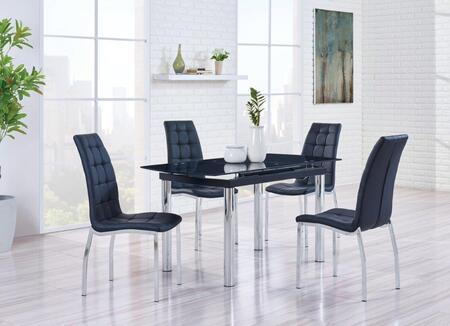 D30DT4D716DC 5-Piece Dining Room Set with Dining Table and 4 Dining Chairs in Black and