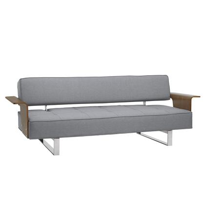 LCTASOGRAY Taft Mid-Century Convertible Futon in Gray Tufted Fabric and Walnut