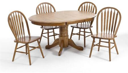 Classic Oak CO-TA-L4260247-CNT-C Dining Room  Laminate Pedestal Table and 4 Chairs  in Chestnut
