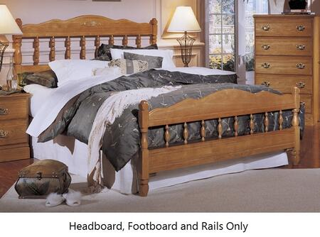 Carolina Oak 237350-3-971900 63 inch  Queen Sized Bed with Spindle Headboard  Footboard and Metal Slat-less Rails in Golden