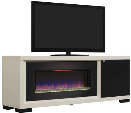 47IMM4931-T406 Brickell Electric Fireplace with Smoked Glass Door  Touch Latch  Side Storage Cabinet anf Energy-Saving LED Technology in Antique White
