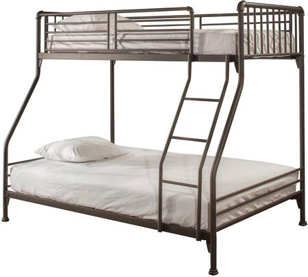 Brandi Collection 2099BTF Twin Over Full Size Bunk Bed with Open Frame Design  Ladder  Guardrails and Sturdy Steel Metal Construction in Oiled
