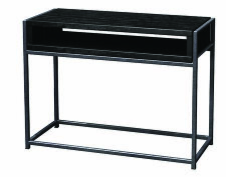 390125 Wabash Storage Mini-Table With .5 inch  Steel Rod Powdercoated Silver Sparkle  1 inch  Thick Veneered & In Java
