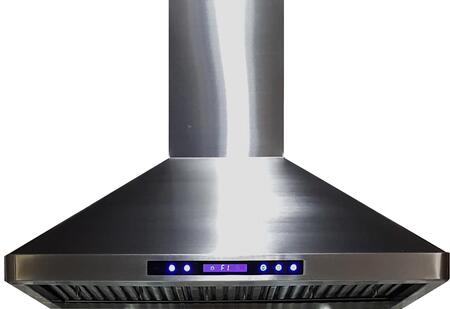 VEHOOD36CH 36 inch  Chimney Range Hood with 900 CFM  4 Fan Speeds  LED Lighting  Remote Control  in Stainless