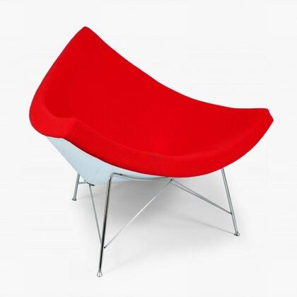 Coconut FEC3417RED Chair with Stainless Steel Legs  Fiberglass Frame and Fabric Upholstery in Red and