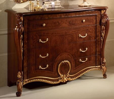 """DONATELLODRESSER_52""""_Dresser_with_4_Drawers__Simple_Pulls_and_Carved_Detailing_in_Walnut"""