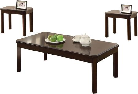 Marcia Collection 82936 3 PC Living Room Table Set with Clipped Top Corners  Contemporary Style  Rectangular Shape and Engineered Wood Construction in Walnut