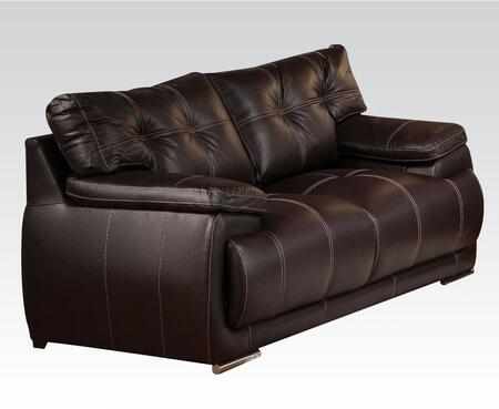 Terrence Collection 51741 63 inch  Loveseat with Wood Frame  Chrome Legs  Tufted Cushions  Padded Arms and Bycast PU Leather Upholstery in Espresso