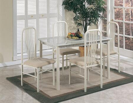 Hudson Collection 02406/7-IV 5 PC Dining Set with 4 Armless Chairs  Rectangular Table  Faux Marble Top  Fabric Cushion Seat and Metal Slatted Back in Ivory