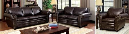Benedict Collection CM6311-SLC 3-Piece Living Room Set with Stationary Sofa  Loveseat and Chair in Dark